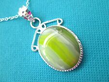 925 Sterling Silver Pendant With Natural Yellow Botswana Agate   (nk1627)
