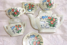6 Piece Mini Tea Set Tea Pot Cup Saucer Porcelain Japan Marked