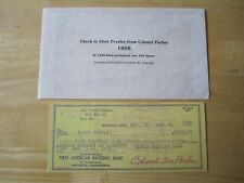 1956 $5,000.00 Check to Elvis Presley From Colonel Tom Parker