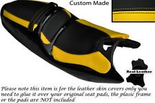 BLACK & YELLOW CUSTOM FITS SACHS XTC 125 SET OF 3 LEATHER SEAT COVERS