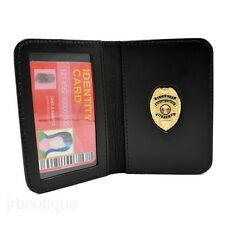 Security Enforcement Officer Guard SEO Mini Badge Black Leather ID Wallet Case