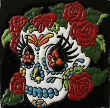 "One MEXICAN Hi Relief 4"" Day of the Dead Skull With Roses Talavera Tile DDT-18"