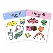 STICKER PACK SET STICKERS SHEET GIFT FUN CUTE KAWAII ALIEN RAINBOW SHELL TUMBLR