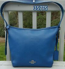 COACH Slouch Duffle Shoulder Bag in Polished Pebble Leather Denim Blue 35775
