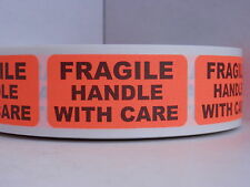 FRAGILE HANDLE WITH CARE 1x2 red fluorescent Warning Stickers Labels 500/rl