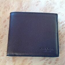 NWT Coach Men's Double Billfold Sport Calf Wallet F 75084 Mahogany