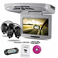 "11.3"" HD LCD MPV Car Roof Mount Overhead Monitor DVD Player Game Headphones Gray"