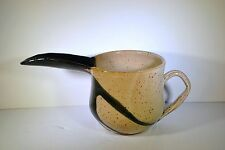 Signed Numbered Beige and Black Pottery Creamer / Gravy Boat with Long Spout