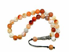 0644 -  Dragon Vein Agate & Sterling Silver Prayer Worry Beads Tasbih Handmade