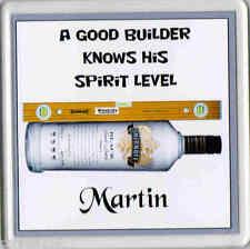 "Personalised Builder Carpenter Bricklayer Acrylic Coaster Mug Beer Mat 4""x 4"""