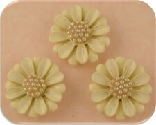 2 Hole Slider Beads Qty 3 Ivory Designer Flowers with Faux Pearl Cluster Centers