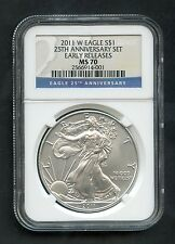 Silver Eagle S$1 2011-W 25th Anniversary Set Early Releases NGC MS70 $1 RARE