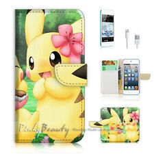 iPod Touch iTouch 5 Print Flip Wallet Case Cover! Pikachu Girl Friend P0168
