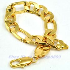"""9""""12mm33g REAL MEN 18K YELLOW GOLD GP BRACELET SOLID FILL GEP FIGARO RING CHAIN"""