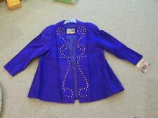 Ladies Purple Atlantic Beach Leather Flair Jacket Coat Gold Studded M NWT