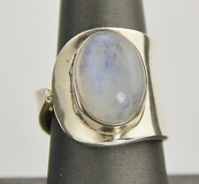 MOONSTONE GEMSTONE STERLING SILVER MODERNIST RING Sz 9 / 7.4 gr NEW WITH TAG NWT