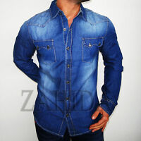 """Zahida"" Herren Hemd Langarm Blue Blau Jeans Jeanshemd Ellbogen S M L XL XXL NEU"