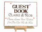 Personalised Guest Book Wedding Metal Vintage Shabby Chic Style Plaque Sign