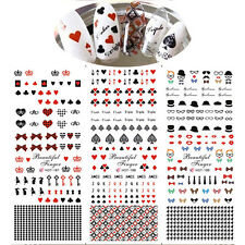 1 Sheet Nail Art Water Transfer Decal Sticker Butterfly Knot Playing Cards DIY