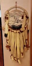 Native American Dream Catcher Mandala Painted Buffalo Wool Fur Feathers Beads