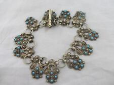 Turquoise in sterling silver bracelet vintage art deco c1920 tbj01356