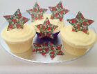 12 Vintage Christmas Floral Star Rice Wafer Paper Cupcake Cake Buns Toppers