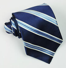 Tommy Hilfiger Silk Tie College Striped Navy Blue Silver Grey Ivory Designer Men