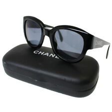 CHANEL Logos Sunglasses Black Gold-Tone Plastic Italy Vintage Authentic #9469 M