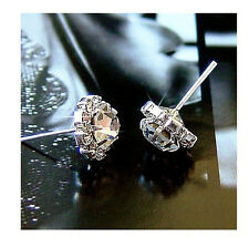 Women Fashion Jewelry Shiny  Crystal Sunflower Zircon Ear Stud Earrings