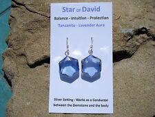 Tanzanite Aura Quartz Star of David Earrings-Intuition and Creativity