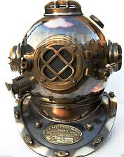 ANTIQUE U.S NAVY MARK V SOLID BRASS VINTAGE DIVING DIVERS HELMET FULL SIZE 18""