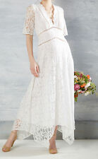 Lace & Mesh Plus Size 2X Vintage Style White Lace Wedding Gown Dress Bohemian