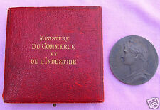 RARE Antique French Ministry Gov't Sterling Silver Medal Coin 1913 Original Case