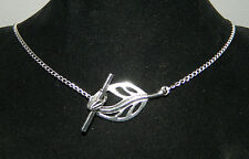 """Silver Leaf Choker Curb Chain Collar Necklace 16"""" Toggle Clasp"""