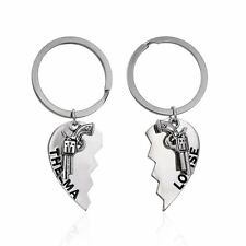 1Pair Silver 3D Thelma Louise Gun Heart Broken Key Ring Couple KeyChain Gifts