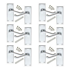 6 Pack of Victorian Scroll Polished Chrome Door Handles Internal 114x40mm