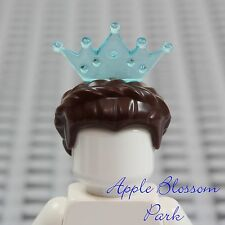 LEGO Female Princess Minifig DARK BROWN QUEEN HAIR Braid w/Aqua Blue Tiara Crown