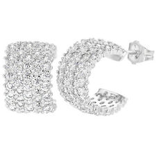 Rhodium Plated Wide Half Hoop Micro Pave Clear CZ Stud  Lady Earrings 12mm