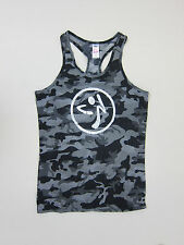Zumba  Bubble Tank All Over Camo Print Top - Womens Small - Smoke - NWT