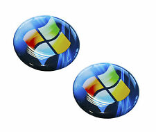 2 x AUFKLEBER 3D STICKERS WINDOWS LOGO PC LAPTOP TABLET COMPUTER BLAU
