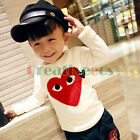 Fashion Kids Toddlers Boys Embroidery Heart to Heart 100%Cotton Tee Tops T-Shirt