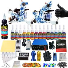 New Tattoo Kits 2 Tattoo Machine Guns Set 14 Ink Power Supply Grip Tips TK203-41
