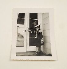 Black and White Vintage Snapshot Photograph Girl In Cowboy Outfit Costume 1952