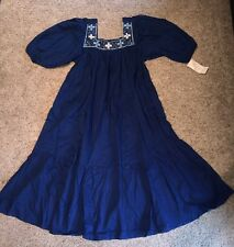 VINTAGE 70s Women's  CoBalt Blue MEXICAN   EMBROIDERED DRESS SIZE Large