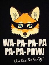Ylvis: What Does The Fox Say Animal Wha-pa-pa-pa-pa-pow Graphic Black T Shirt M