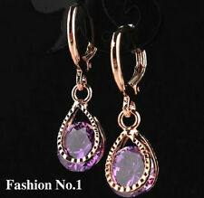 18K ROSE GOLD PLATED CZ PURPLE AMETHYST CRYSTAL DROP DANGLE HOOP EARRINGS