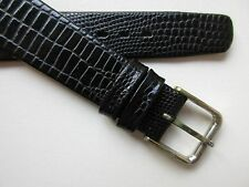 Certina black teju-lizard print leather watch band with steel buckle ~ 17 mm