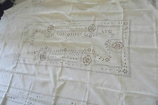 Nappe en Lin Blanc Broderie Main Richelieu Linge Ancien OLD TABLECLOTH