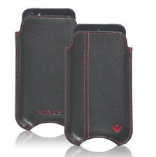 For Apple iPhone 4 Black Real Leather NueVue Screen Cleaning Pouch Sleeve Case