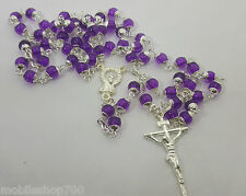 Cross Rosary Beads Necklace chain for men,women & Kids-Violet Colour